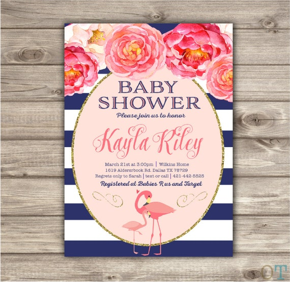 flamingo baby showerinvitation template its a girl pink navy flowers