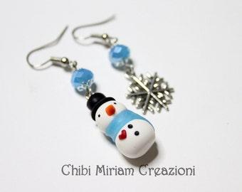 Earrings snowmen and snowflake