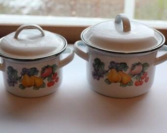 Two Vintage GMI  White Enamel Pots And Lids Silver Rim  With Fruit Design