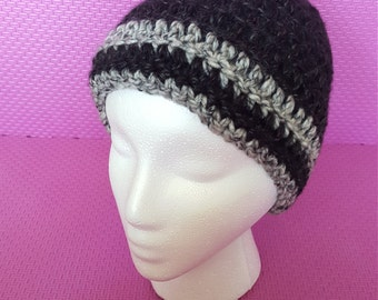 Black and grey crocheted hat