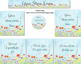 Etsy Store Banners, Premade Banner Set, Premade Etsy Kit,  Etsy Logos, Etsy Banner Sets, Etsy Headers, Shop Banners,