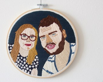 Custom made | 2 persons embroidered portrait