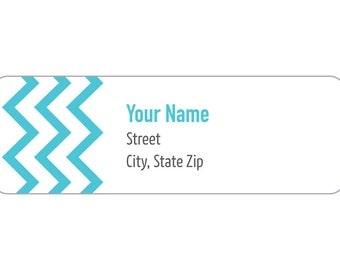 120 Labels - Label M0003 : Turquoise ZigZag Return Address Labels