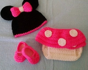 Minnie Diaper Cover Set, Disney Inspired Photo Prop, Minnie Mouse Photo Prop, Baby Outfit, Crochet Baby Clothes