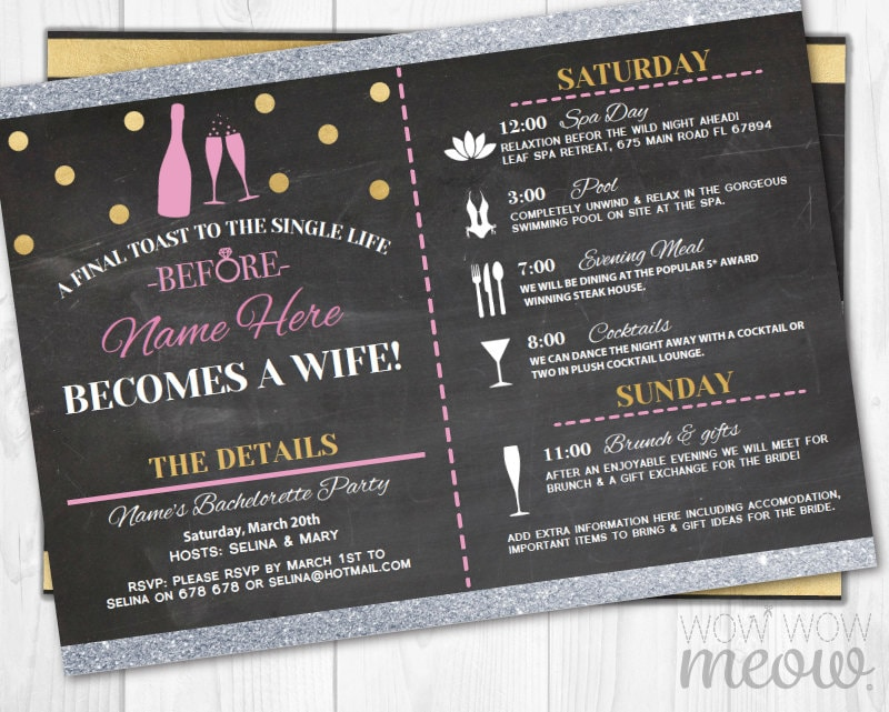 bridal shower itinerary invite weekend girls night out