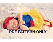 Snow White 3 piece set - PDF PATTERN ONLY - Crochet - Size Newborn to 12 month