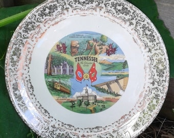 """Vintage Kitsch TENNESSEE """"The Volunteer State"""" Souvenir State Plate, 1950's"""