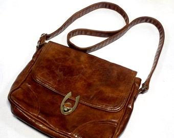 Vintage Faux Leather Shoulder Bag.  Shining Brown Color Women Causal Bag - Handbag. Cross Body Bag.  Gift for Mother, Make up Bag, Night Bag