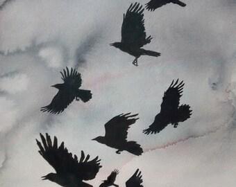 Art Card; Crows in Flight