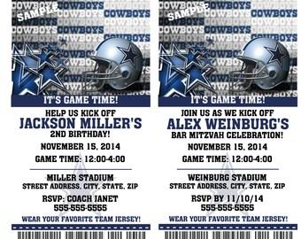 12 PER PACK Birthday Party Invitations Card Dallas Cowboys Birthday Ticket Invitation Football Weddings Baby Showers Bar Mitzvahs