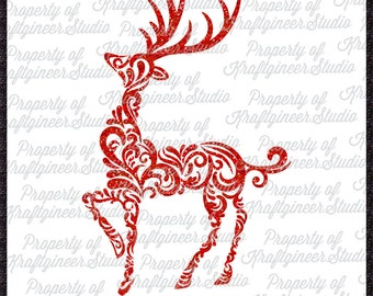 Oh Deer Swirly Deer SVG Filigree Deer SVG Christmas SVG Swirly Reindeer svg cut file for Cricut Silhouette Scan N Cut Commercial Use