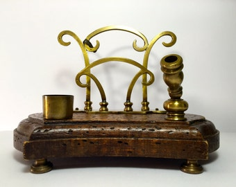 Antique Early 1900's Wood and Brass Inkwell Letter Desk Stand Made in Italy