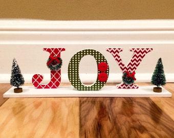 JOY Shelf Sitter / Christmas Decor / JOY / Holiday Decor / Christmas Decoration / Red and Green
