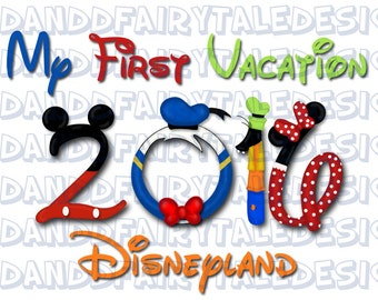 My First Disneyland Vacation 2016 Themed Digital Art Letters Printable DIY - Instant Download