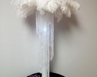 "30"" Glamorous Spiral Chandelier With Deluxe Ostrich Feather Top Centerpiece"
