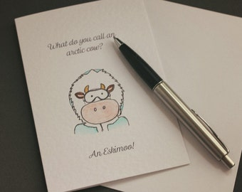 Eskimoo - Hand Drawn Arctic Cow Greeting Card, Cow Jokes, Animal Jokes, Farm Jokes