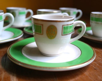 Vintage Lamberton Sterling Ivory China USA Hotel Restaurantware Demitasse Cups and Saucers Set of 9 Green Cream with Gold C-4
