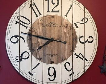 28 Inch Farmhouse Clock - Rustic Wall Clock - Large Wall Clock - Unique Wall Clock - Personalized Clock - Distressed Clock - Wooden Clock