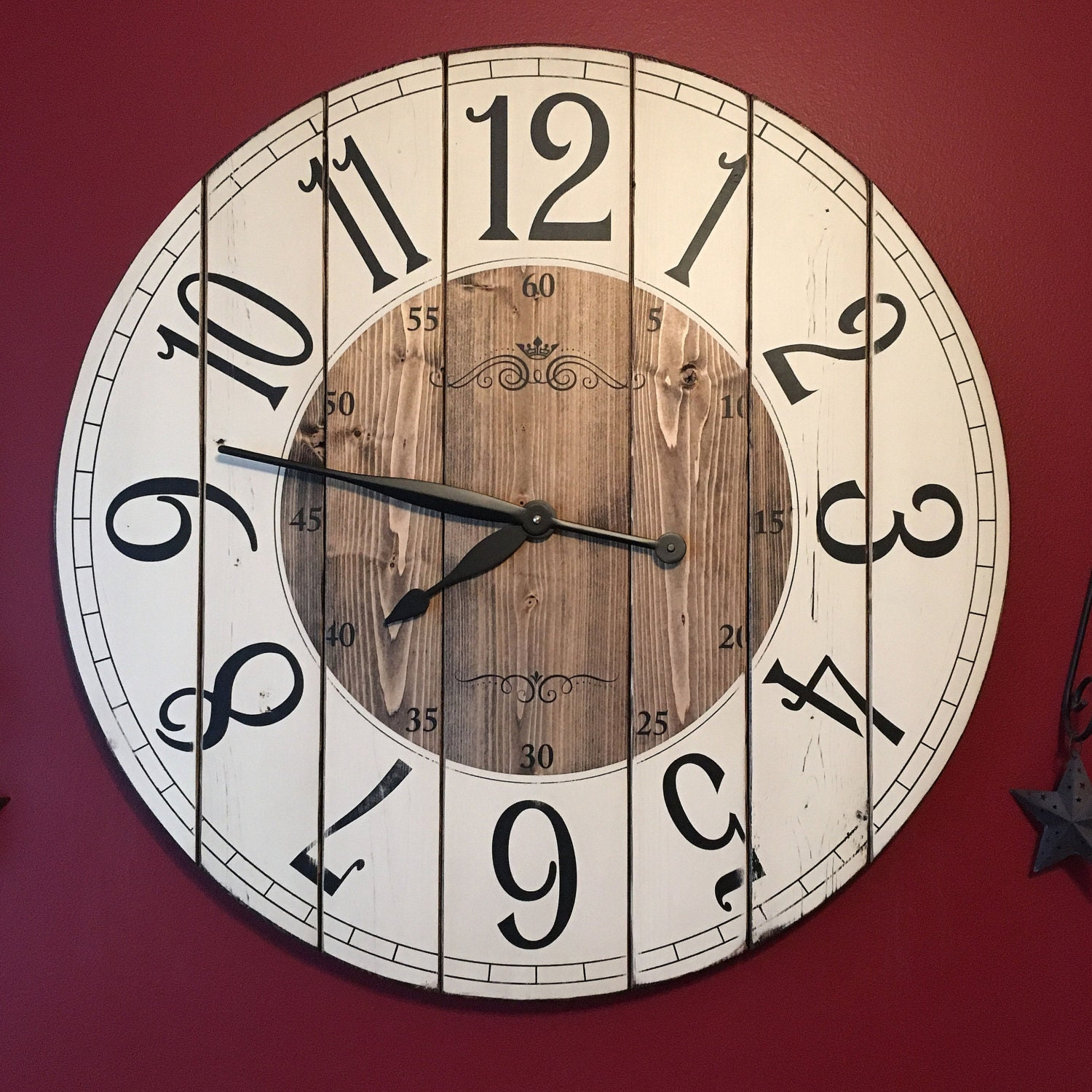 28 Inch Farmhouse Clock Rustic Wall Clock Large Wall Clock