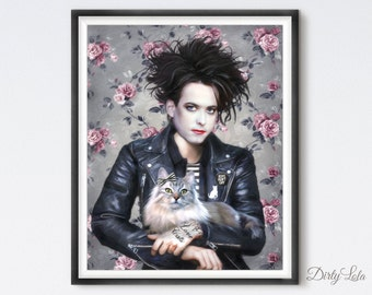 Robert Smith  - The Cure - Portrait - Illustration - Art Print - Fan Art - Persian Cat - Cat Art - Love Cats - Goth Rock