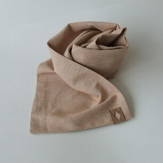 mens scarf for summer light orange melange linen scarf