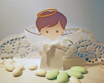 Containing sweets or candy for communion or baptism of boy Angel