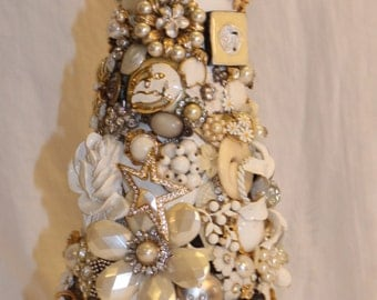 "12"" Antique white jeweled tree original, collectible, regal white and rose"