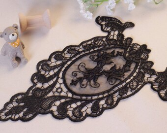 Ivory/Black Lace Applique