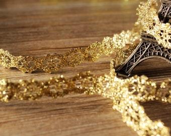 2 yards of 1cm Wide Gold Lace Trim Dress Decoration  DIY Lace Trim