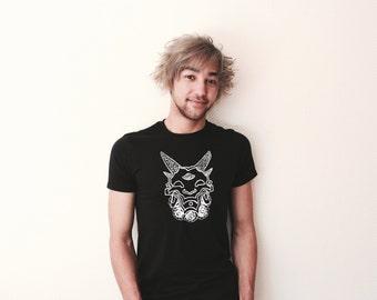 Handprinted Men T-Shirt with devil/demon/flower motive/print black/white
