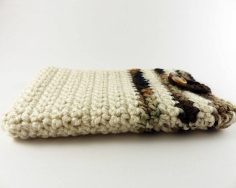 Crochet Phone Case - Cream with Camouflage Stripes