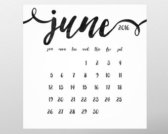 Printable Square 2016 Wall calendar, Wall planner, A4 Calendar, Black watercolor, Minimal calendar, Instant download, Printable wall planner