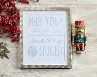Christmas Print, Merry and Bright, Rustic Christmas Decor, Christmas Wall Art, Christmas Wall Decor, Holiday Decoration, Xmas Decor