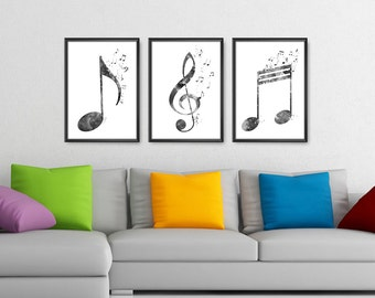 Music Notes Set of 3 Prints Black and White, Treble Clef, Notes, Music Notes Watercolor Print, Music Wall Art, Music Symbols Art (A0416)