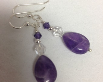 Amethyst earrings in Sterling silver,purple stone earrings,Birthday gift,Anniversary gift,Valentine gift,Christmas gift,Mothers day gift,