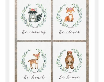 Woodland Nursery Prints | Baby Girl Woodland Nursery | Be Clever Be Kind Be Brave | Woodland Animals | Watercolor Prints | Set of Four