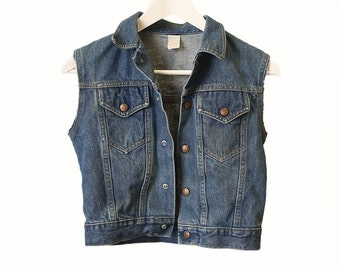 Vintage Kids Denim Vest, Boys size 10 - 12  jean Vest, Little Kids Rocker Vest, Kids Vintage, Boys Vintage Clothing, Kids Denim