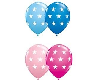 "Star Balloons 11"" Pkg/10 Latex Helium Quality Made in USA Light Blue, Dark Blue, Light Pink, Dark Pink"