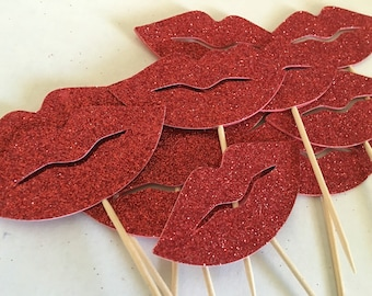 Glitter lips cupcake toppers (12pc)