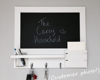 Chalk board organizer with mail holder, choice of options