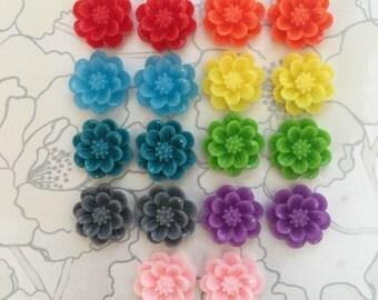1 x Pair Flower Stud Earrings - Resin Flower Rose Cabochon Stainless Steel