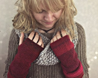 Boho Knit Arm Warmers, Fingerless Gloves