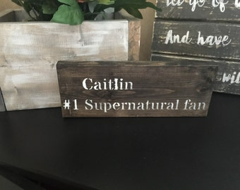 Personalized #1 Supernatural fan sign sam and dean winchester