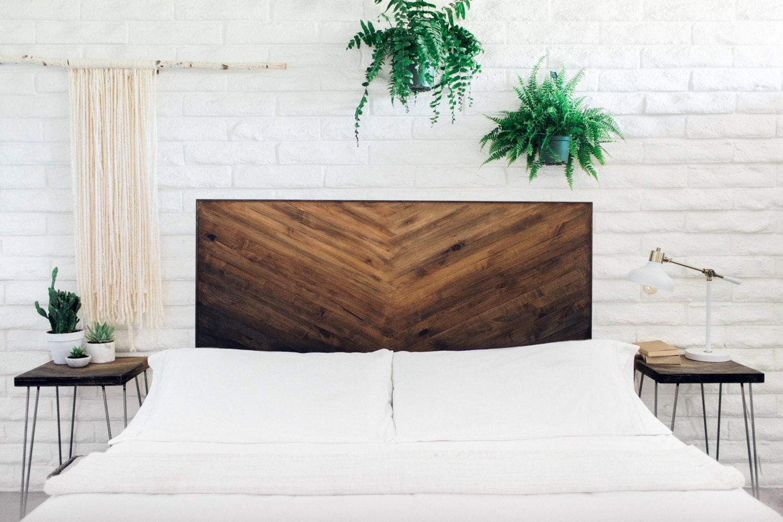 Rustic Brown Gradient Wooden Headboard Ombre Wall Hanging