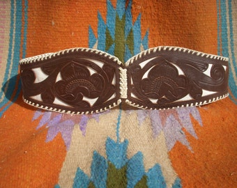 Vintage Mexican Tooled Leather Inlay Corset Belt
