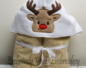 Reindeer Children's Hooded Towel - Baby Towel - Childrens Hood Towel - Bath Towel - Beach Towel - Personalized Towel - Character Towel