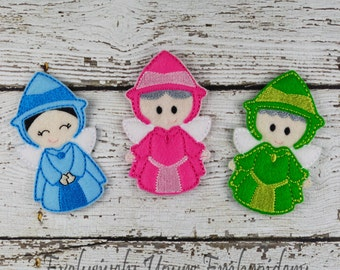 Fairy Godmother Trio Felt Finger Puppets - Pretend Play - Party Favors - Birthday - Fairy Godmothers - Blue Fairy- Green Fairy - Pink Fairy