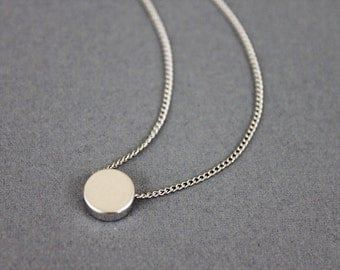Tiny Silver Dot Necklace . Bridesmaid Necklace Bridesmaid Gift Dainty and Simple Necklace . Birthday Gift .