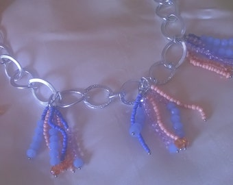 Necklace Beaded fringes Blue serenity and fishing