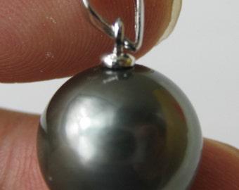 13mm AAA Black Tahitian Pearl Pendant - 925 Sterling Silver Sku#: pn105